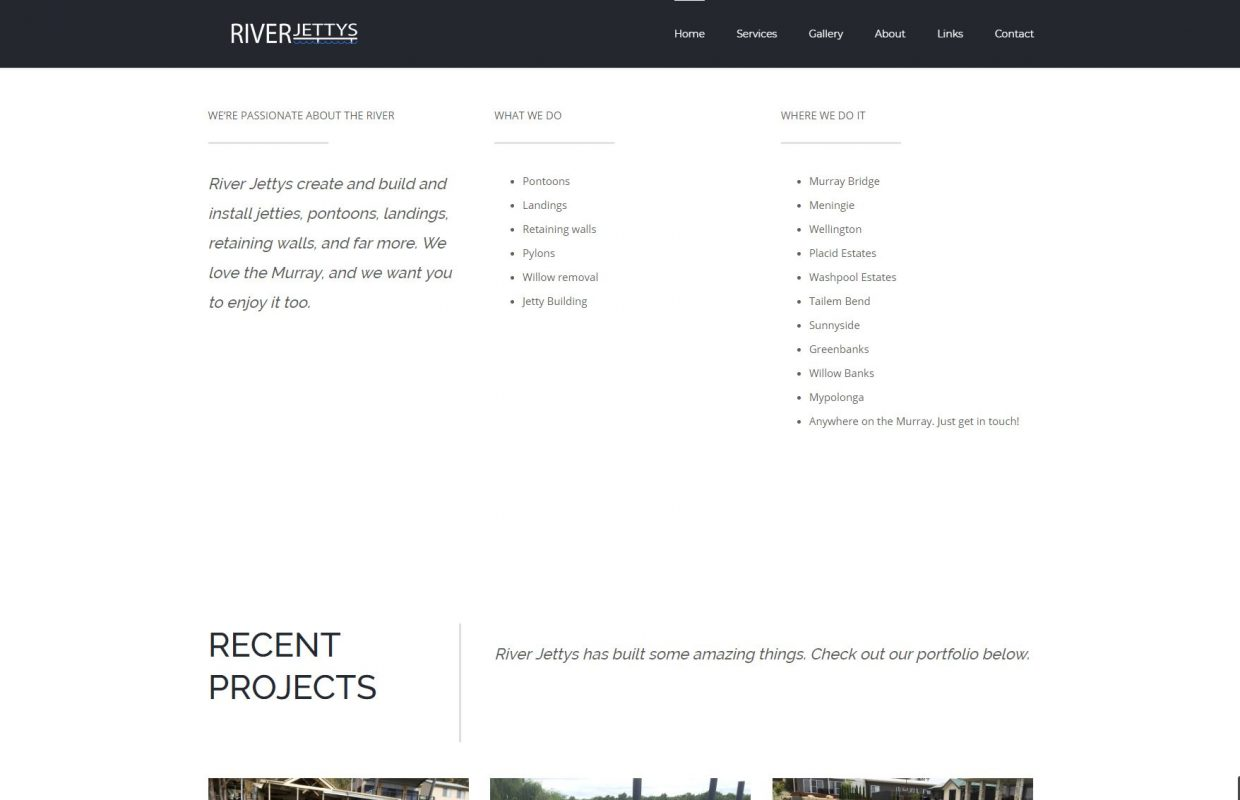 Screenshot of RiverJettys website